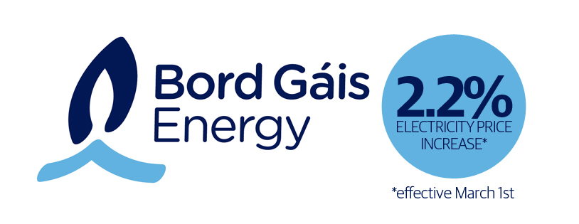 Bord Gais to increase electricity prices March 1st